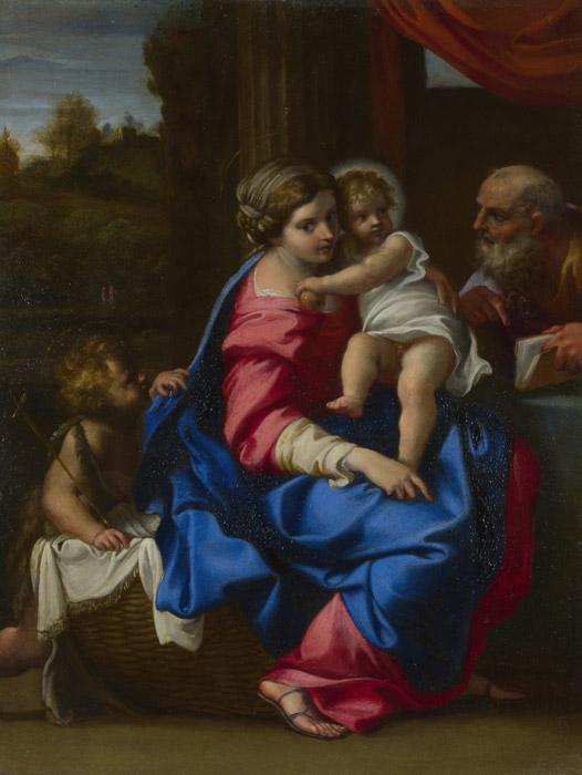 フリー絵画 アンニーバレ・カラッチ作「聖家族と幼児洗礼者聖ヨハネ」