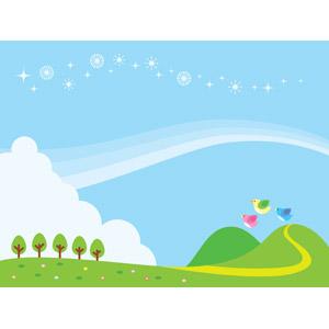 フリーイラスト, ベクター画像, AI, 背景, 青空, 丘, 小鳥