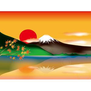 フリーイラスト, ベクター画像, AI, 風景, 自然, 山, 富士山, 湖, 日本の風景