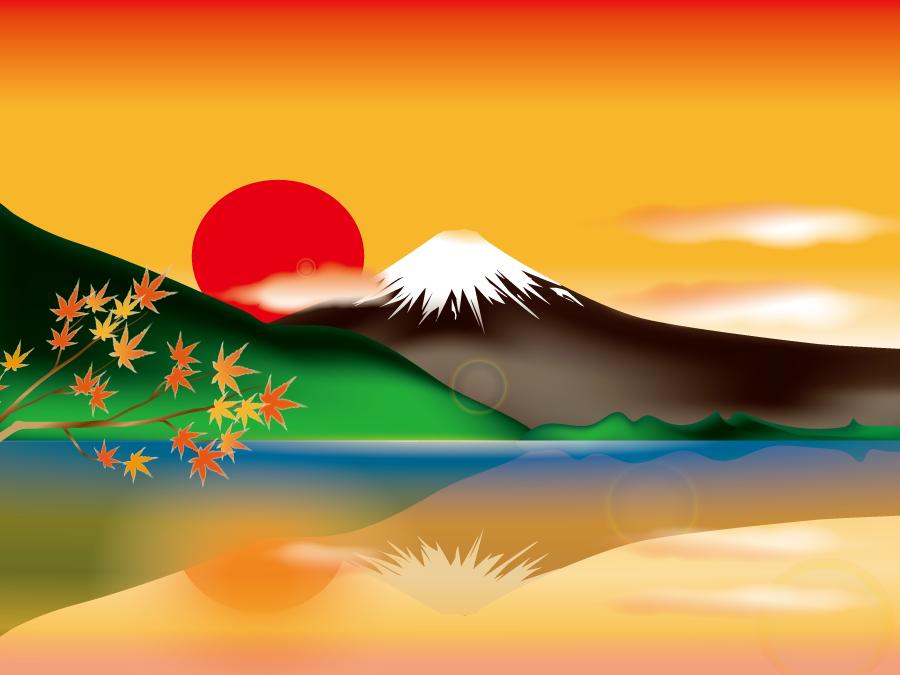 フリーイラスト 夕陽と富士山と湖に映る逆さ富士の風景