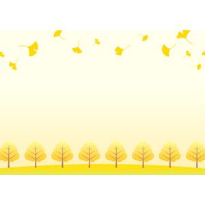 フリーイラスト, ベクター画像, EPS, 背景, フレーム, 上下フレーム, 植物, 葉っぱ, イチョウ, 紅葉(黄葉), 秋, 落ち葉, 樹木, 黄色(イエロー)