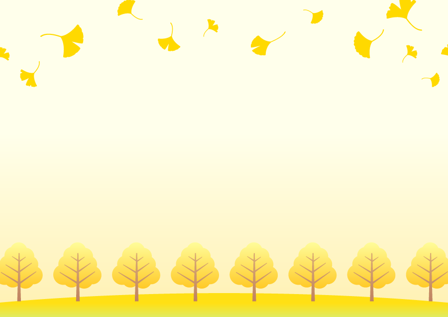 フリーイラスト 黄葉したいちょうの葉と並木の飾り枠