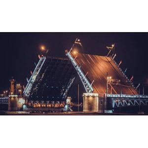 フリー写真, 風景, 建造物, 建築物, 橋, 夜, ロシアの風景, サンクトペテルブルク
