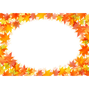 フリーイラスト, ベクター画像, AI, 背景, フレーム, 円形フレーム, 植物, 葉っぱ, もみじ(カエデ), 紅葉(黄葉), 秋, 落ち葉