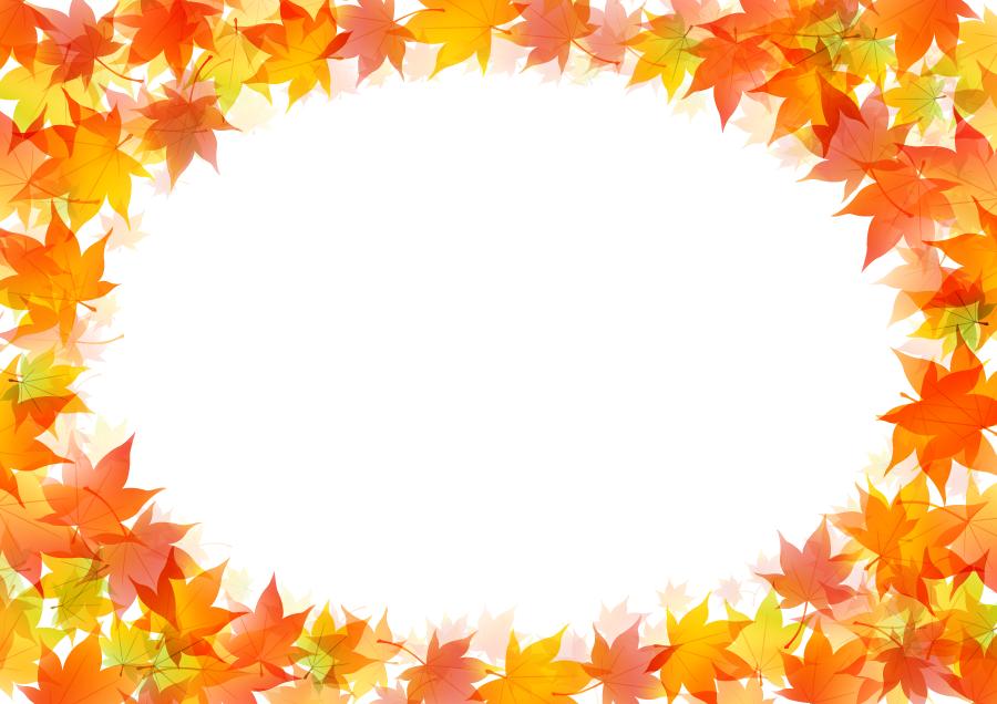 フリーイラスト 紅葉したもみじの落葉の飾り枠