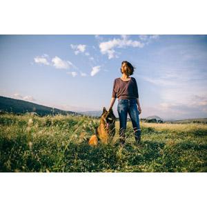 フリー写真, 人物, 女性, 外国人女性, 人と動物, 動物, 哺乳類, 犬(イヌ), ジャーマン・シェパード・ドッグ, 人と風景, 草むら, 青空