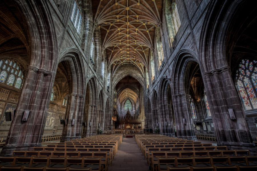 フリー写真 チェスター大聖堂の内部風景