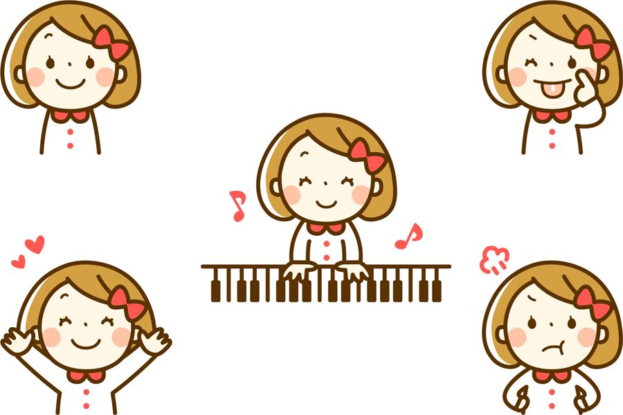 フリーイラスト ピアノを弾くなどの女の子のセット