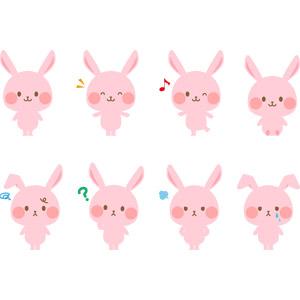 フリーイラスト, ベクター画像, AI, 動物, 哺乳類, 兎(ウサギ), 喜ぶ(動物), 泣く(動物), 困る(動物), 怒る(動物), ピンク色