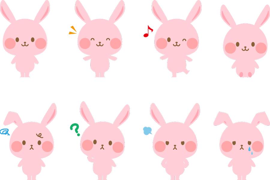 フリーイラスト 様々な表情のピンク色のうさぎのセット