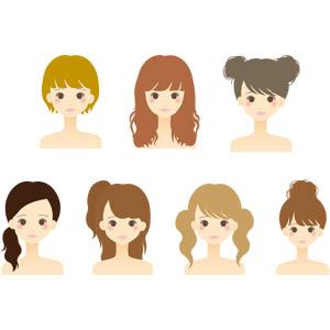 フリーイラスト, ベクター画像, AI, 人物, 女性, 美容, ショートヘア, ツインテール