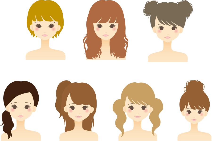 フリーイラスト ショートヘアなどの7人の女性のセット
