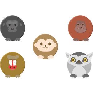 フリーイラスト, ベクター画像, AI, 動物, 哺乳類, 猿(サル), ゴリラ, オランウータン, マンドリル, ワオキツネザル