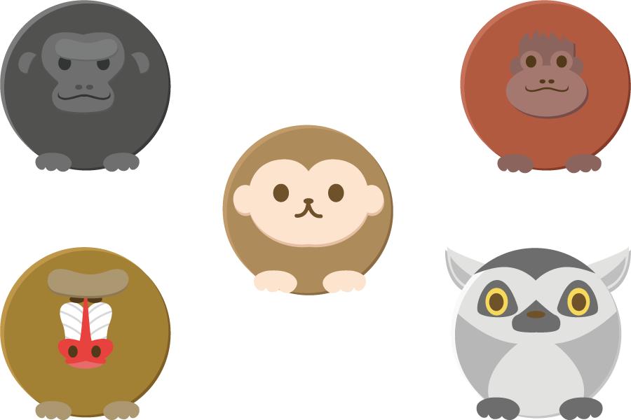 フリーイラスト ゴリラやオランウータンなどの丸い猿のセット