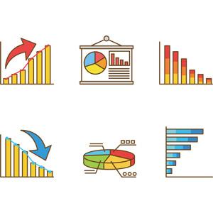 フリーイラスト, ベクター画像, AI, ビジネス, データ, グラフ, 棒グラフ, 円グラフ, 売り上げ(売上), 右肩上がり, 右肩下がり