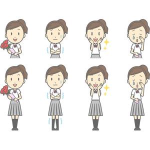 フリーイラスト, ベクター画像, AI, 人物, 少女, 少女(00270), 学生(生徒), 高校生, 学生服, 寒い, 目を輝かせる, 泣く(泣き顔), 頬に手を当てる, 花束, 母の日, カーネーション, プレゼント, 人と花, 5月
