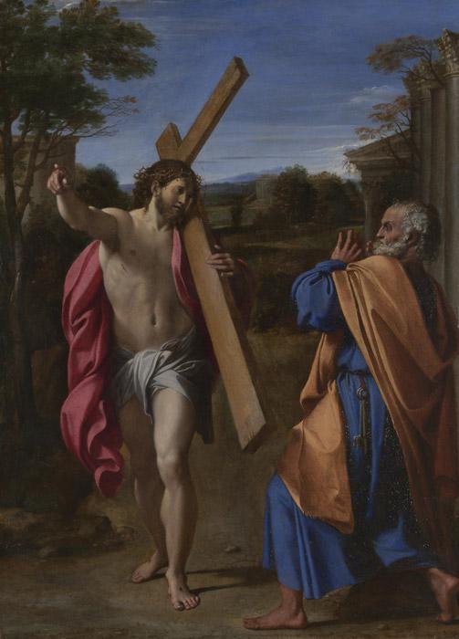 フリー絵画 アンニーバレ・カラッチ作「アッピア街道で聖ペトロに出会うキリスト 」