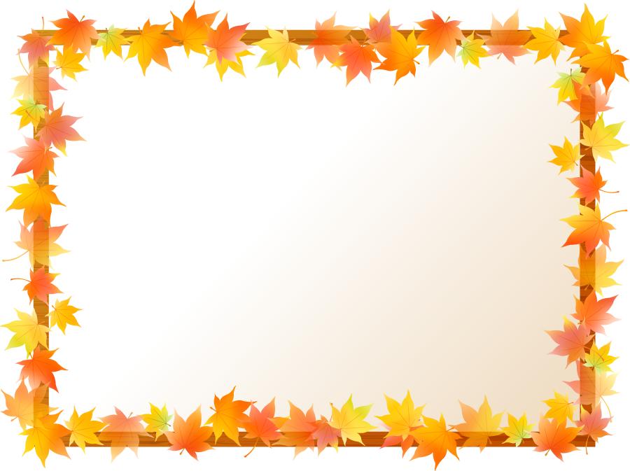 フリーイラスト 紅葉したもみじの葉と木枠