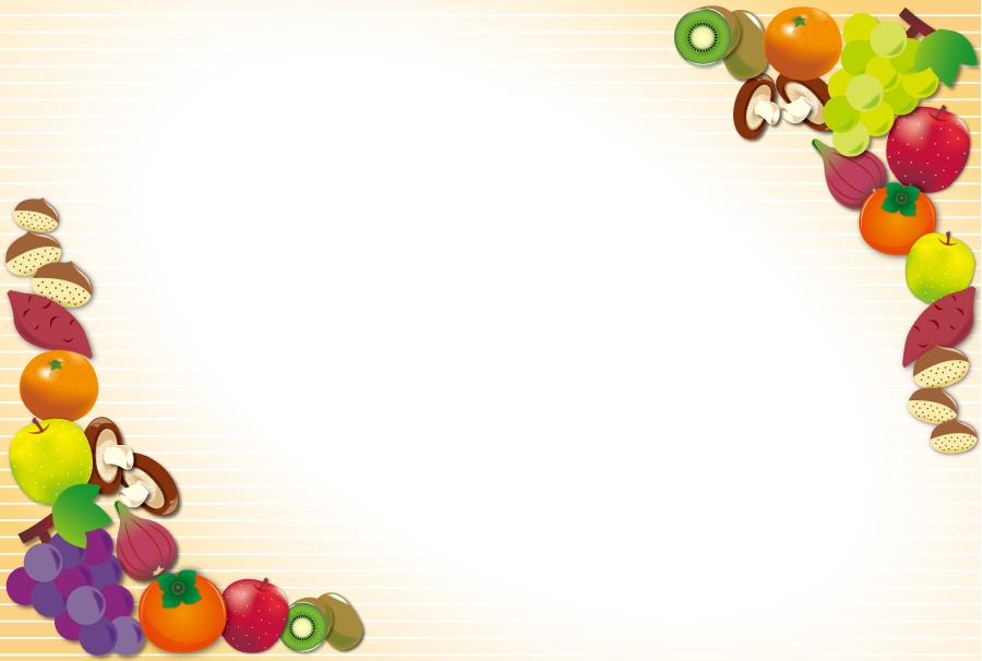 フリーイラスト 秋の食べ物の飾り枠