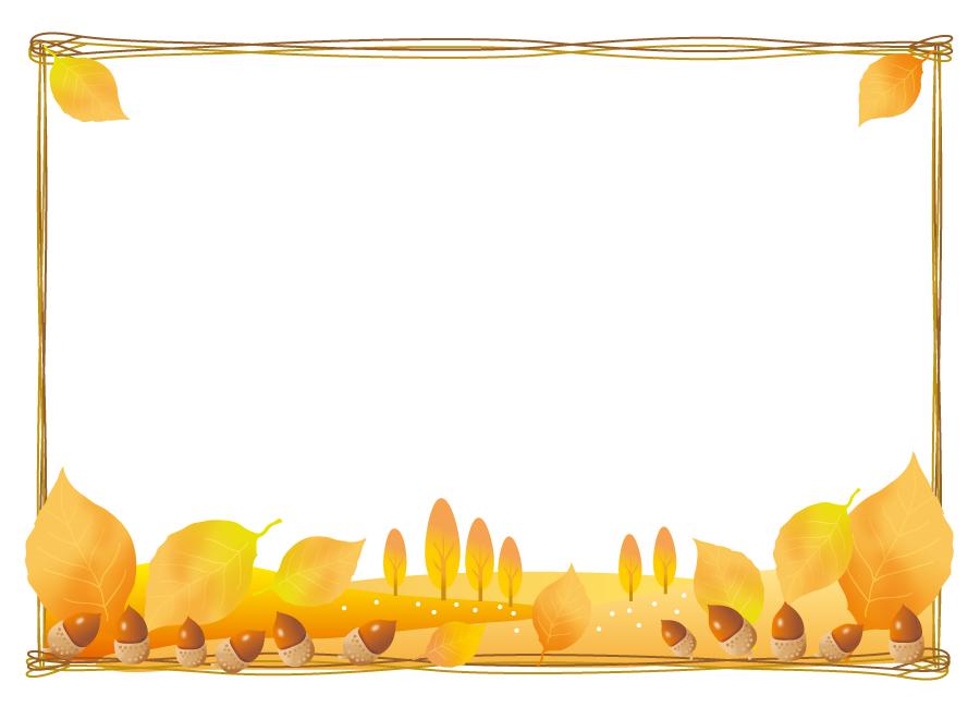 フリーイラスト 落ち葉とどんぐりの飾り枠