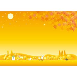 フリーイラスト, ベクター画像, AI, 背景, 秋, もみじ(カエデ), 紅葉(黄葉), 夕暮れ(夕方), 夕焼け, 月, 満月, 兎(ウサギ), 自転車, 犬(イヌ), 猫(ネコ), 田舎, 村, 薄(ススキ), オレンジ色