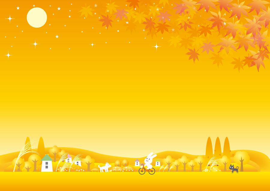 フリーイラスト 秋の田舎をサイクリングするウサギ