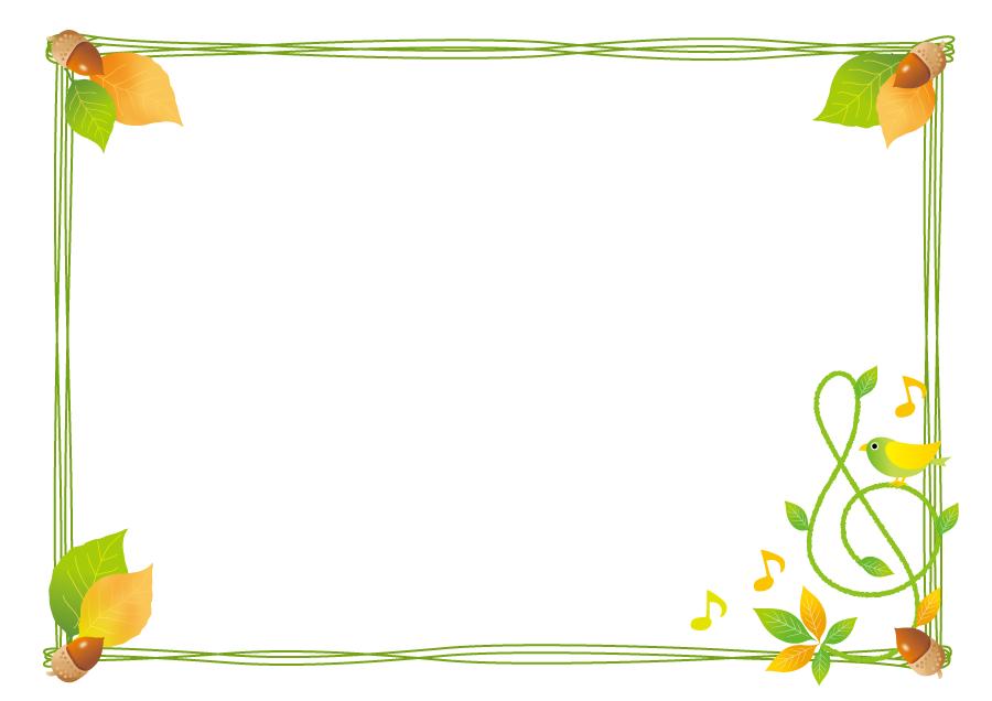 フリーイラスト 落ち葉とどんぐりと音楽の飾り枠