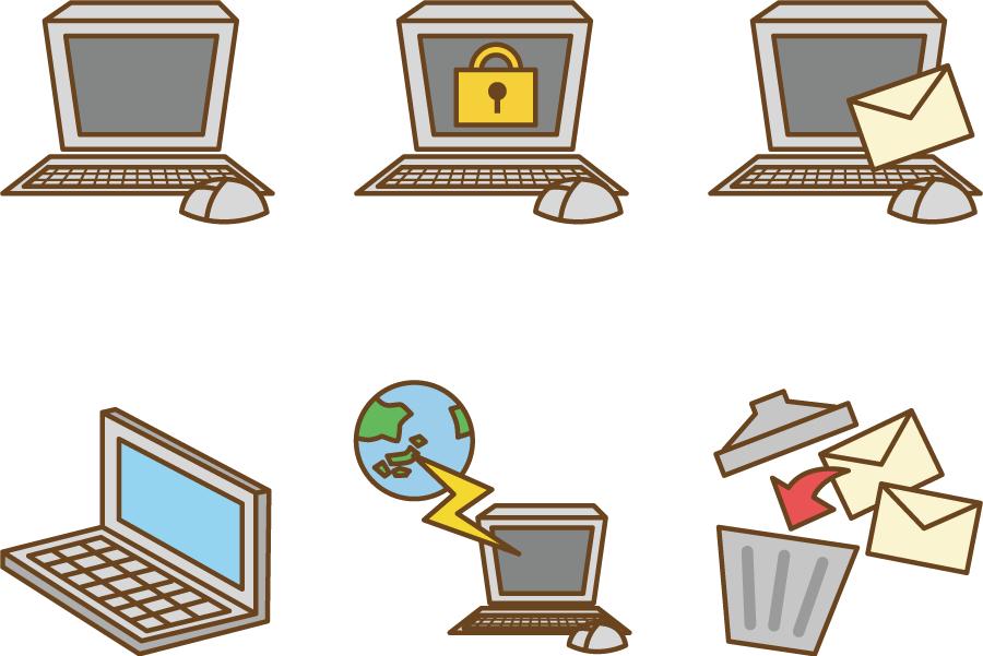 フリーイラスト パソコンとインターネットとメールのセット