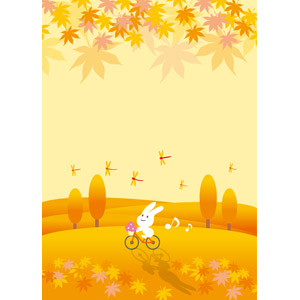 フリーイラスト, ベクター画像, EPS, 背景, 秋, 葉っぱ, 落葉(落ち葉), 紅葉(黄葉), もみじ(カエデ), 赤とんぼ(赤トンボ), 兎(ウサギ), 自転車