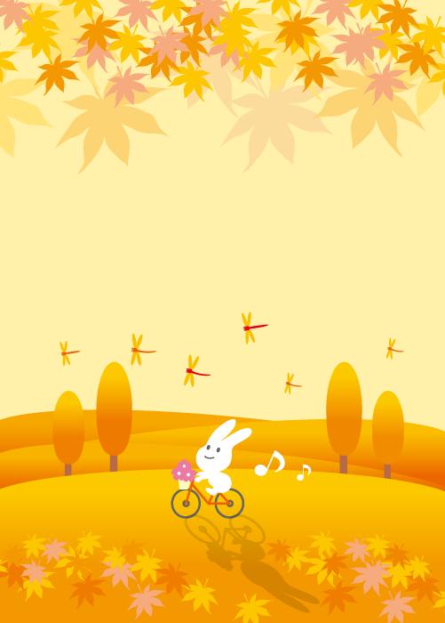 フリーイラスト もみじと赤とんぼと自転車に乗るうさぎ