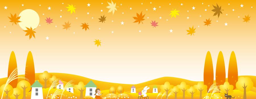 フリーイラスト のどかな秋の田舎の背景