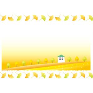 フリーイラスト, ベクター画像, AI, 背景, 植物, 葉っぱ, 紅葉(黄葉), イチョウ, 樹木, 家(一軒家), 秋