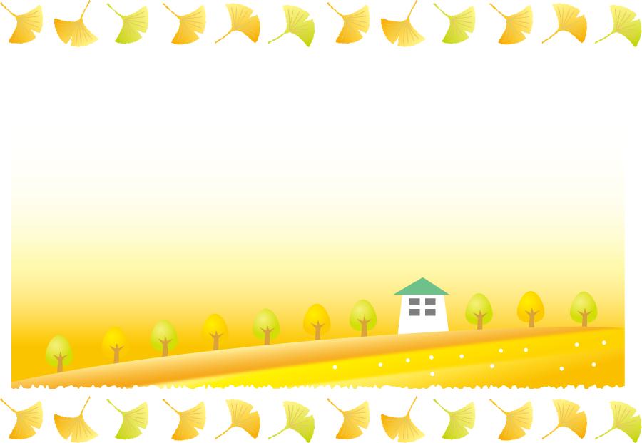フリーイラスト イチョウの葉と並木と家の背景