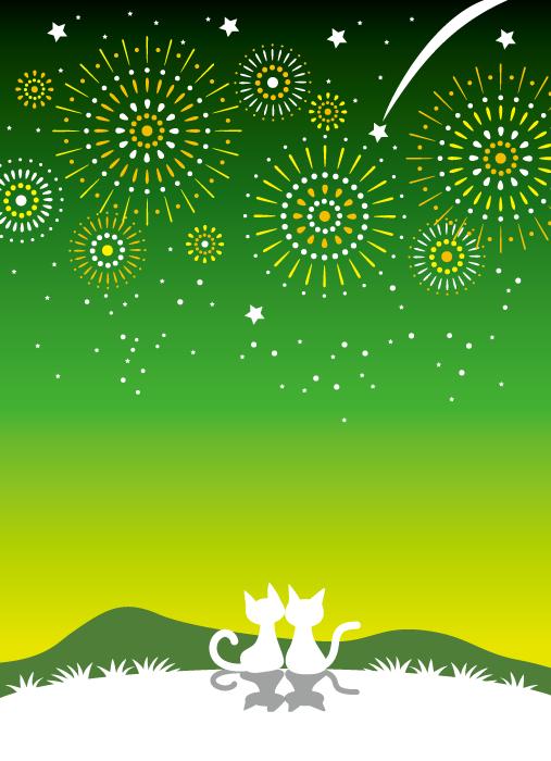 フリーイラスト 打ち上げ花火を見る猫のカップル