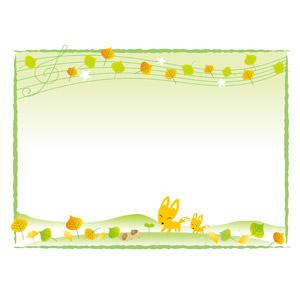 フリーイラスト, ベクター画像, AI, 背景, フレーム, 囲みフレーム, 葉っぱ, 落葉(落ち葉), イチョウ, 音符, どんぐり(ドングリ), 新芽, 秋, 狐(キツネ), 親子(動物)