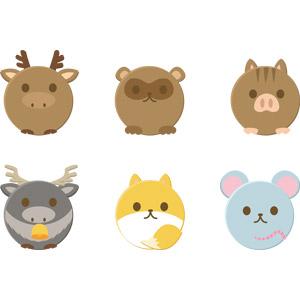 フリーイラスト, ベクター画像, AI, 動物, 哺乳類, 鹿(シカ), トナカイ, 狸(タヌキ), 鼠(ネズミ), 狐(キツネ), 猪(イノシシ)