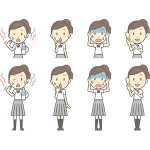 フリーイラスト, ベクター画像, AI, 人物, 少女, 少女(00270), 学生(生徒), 高校生, 学生服, 暑い, 飲料水, 水分補給, 夏バテ, 失敗, 気付く, 頭を抱える, 青ざめる, 固定電話, 通話, 冷や汗をかく