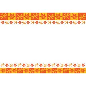 フリーイラスト, ベクター画像, EPS, 背景, フレーム, 上下フレーム, 秋, 赤とんぼ(赤トンボ), もみじ(カエデ), 紅葉(黄葉)