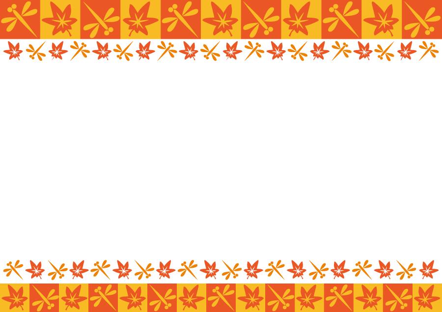 フリーイラスト 赤とんぼともみじの秋の飾り枠