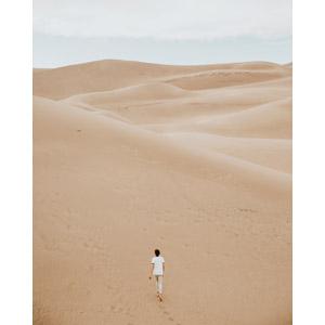 フリー写真, 風景, 砂漠, 砂丘, 人と風景, 後ろ姿, 歩く, アメリカの風景, コロラド州