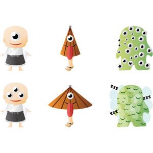 フリーイラスト, ベクター画像, AI, 妖怪, 一つ目小僧, 三つ目小僧, からかさ小僧, 百目