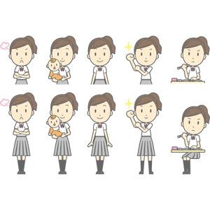 フリーイラスト, ベクター画像, AI, 人物, 少女, 少女(00270), 学生(生徒), 高校生, 学生服, 怒る, 赤ちゃん, 腕を組む, 腕をまくる, 頑張る, 授業, 勉強(学習)
