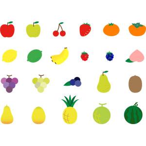 フリーイラスト, ベクター画像, AI, 食べ物(食料), 果物(フルーツ), リンゴ, 青リンゴ, さくらんぼ(サクランボ), 苺(イチゴ), みかん, 柿(カキ), レモン, バナナ, パイナップル, 葡萄(ブドウ), ブルベリー, パパイヤ, ラズベリー, メロン, 西瓜(スイカ)
