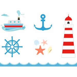 フリーイラスト, ベクター画像, AI, 乗り物, 船, 碇(いかり), 舵, 灯台(ライトハウス), 貝殻, ヒトデ, 海, 波