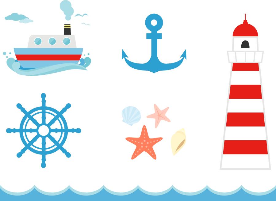 フリーイラスト 灯台や船などのマリン素材のセット