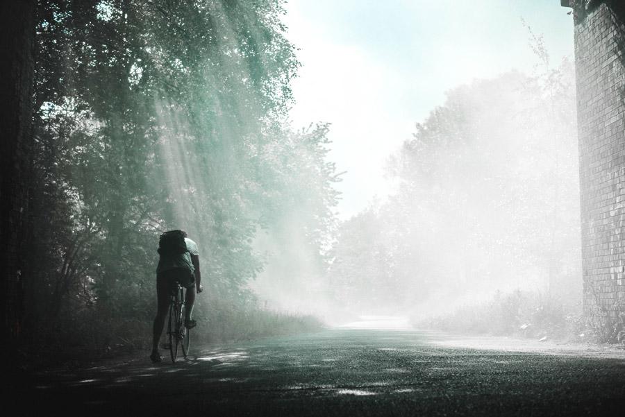 フリー写真 木漏れ日が射し込む道とロードバイクに跨る人