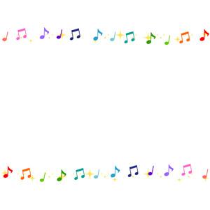 フリーイラスト, ベクター画像, AI, 背景, フレーム, 上下フレーム, 音楽, 音符, 輝き