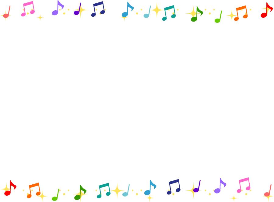 フリーイラスト カラフルな音符と輝きの飾り枠