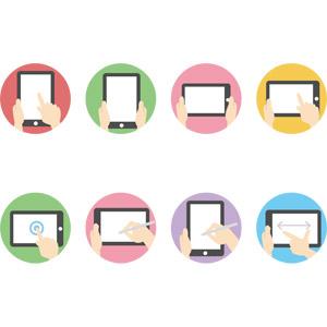フリーイラスト, ベクター画像, AI, 家電機器, パソコン(PC), タブレットPC, 人体, 手, ピンチアウト, タッチ操作, アイコン