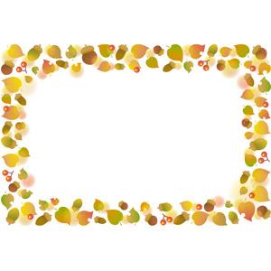 フリーイラスト, ベクター画像, EPS, 背景, フレーム, 囲みフレーム, 秋, 植物, 葉っぱ, 落葉(落ち葉), どんぐり(ドングリ)